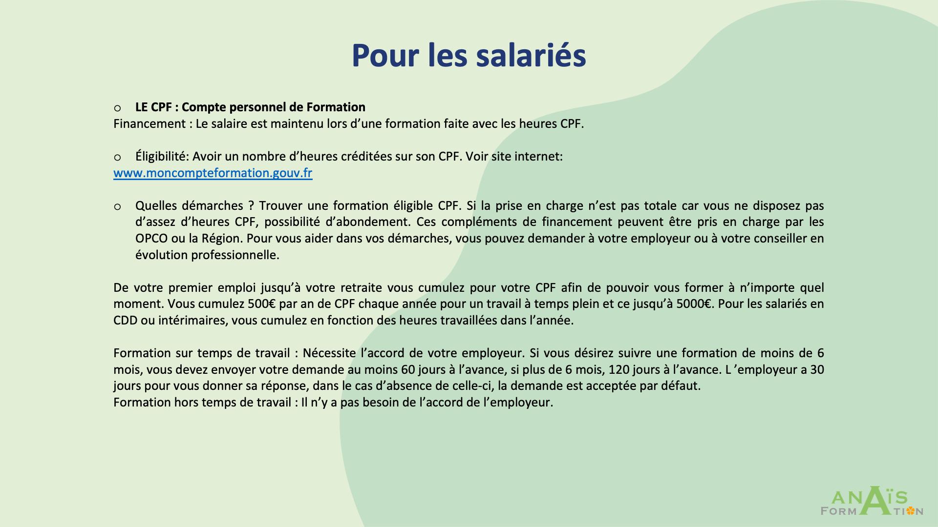 """Page """"Pour les salariés"""""""